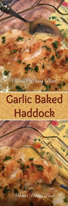 Garlic Baked Haddock- Growing up in New England, you are surrounded by all kinds of delicious fish and seafood. This Garlic Baked Haddock with buttery Ritz crackers is a staple in our house.