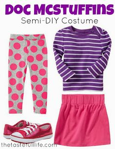 Taste{Full}: The Doc is In: Semi-DIY Doc McStuffins Costume. i just did it for the leggins, we can get some grey leggins and paint the circles.