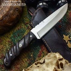 ALONZO KNIVES USA CUSTOM HANDMADE TACTICAL BUSHCRAFT 1095 KNIFE MICARTA 596 #AlonzoKnives