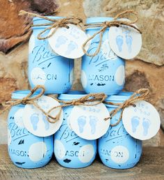 Painted Mason Jars, Baby Shower Centerpieces, Baby Boy Shower Mason Jars  With Itu0027s A