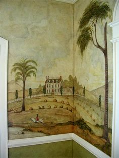 Pine Street Studios > Primitive Mural: Closeup: The Mansion, Rufus Porter inspired Mural Wall Art, Mural Painting, Paintings, Colonial Home Decor, Colonial Decorating, Primitive Painting, Primitive Decor, Decoration, Wall Stenciling