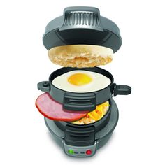 Hamilton Beach, Breakfast Electric Sandwich Maker Get you meal ready in 5 minutes! Cook delicious breakfast sandwiches in the comfort of your own home. Use your own fresh ingredients, including eg… Breakfast Sandwich Maker, Sandwich Toaster, Waffle Sandwich, Quick Sandwich, Croissant Sandwich, Grill Sandwich, Bacon Sandwich, Reuben Sandwich, Inspektor Gadget