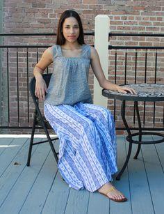 Blue Ikat Stripe Pants