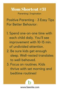 Parenting and Inspiration Shortcuts: Positive parenting - 3 easy tips for better behavior. Visit Beenke now for MORE awesome mom hacks. Get your daily source of life hacks and parenting tips!.#beenke #MomShortcuts