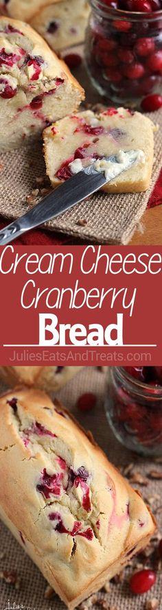 Cream Cheese Cranberry Bread Recipe ~ Amazingly Soft and Tender Quick Bread Stuffed with Tart Cranberries! ~ https://www.julieseatsandtreats.com