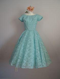 Vintage 1950's Prom Wedding Party Tea Length Pastel Blue Lace Dress