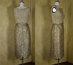 1960s Norman Hartnell Couture Gold Lace Dress
