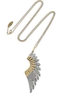 Roberto Cavalli  Gold-plated Swarovski crystal wing necklace  $755