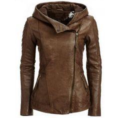 Stylish Hooded Long Sleeve Solid Color PU Women's Jacket found on Polyvore featuring outerwear, jackets, coats, polyurethane jacket, pu jacket, brown jacket, hooded jacket and long sleeve jacket