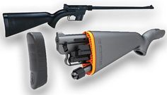 Henry Arms, AR-7 .22 Caliber Break-Down Survival Rifle stores right in the Stock and even floats!! Google Image Result for http://pictures.gunauction.com/7358182316/11356983/Henry-Arms-AR7-Survival-Rifle-1.jpg