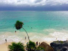 The beach of the ruins in Tulum, Riviera Maya