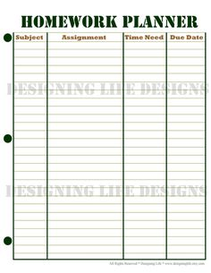 Homework Planner and Weekly Homework Sheet by DesigningLife
