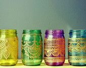 Gift Set of 4 Moroccan Style Mason Jar Lanterns, Jewel Toned Glass with Gold Detailing