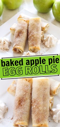 Craving for apple pie but don't want the extra calories? The Baked Apple Pie Egg Rolls are the perfect alternative to the classic apple pie. It's another way to jazz up your fall menu. Whip this up in your kitchen for that ultimate fall treat! Save this pin for later.