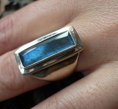 Sterling silver wide ring with a rectangle blue green labradorite stone . by Lizzie5225