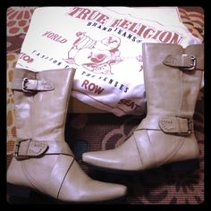 Gently Used!  Authentic True Religion Blair Boots Beautiful, distressed True Religion Blair boots in cream.  The color looks a little richer than your standard cream.  I bought these gently used boots on eBay but they were too small for me around my calves so I never got to wear them.  My loss is your gain.  There a handful of spots on the leather straps and slight scratching near the heel (see pic 3) but it is hardly noticeable.  Feel free to ask for more pictures. Dust bag and box are…