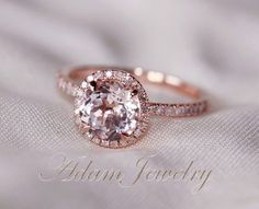 Ship in One Day! Round Cut  VS Halo Morganite Ring 14K Rose Gold Diamonds Wedding Ring /Engagement Ring/ Promise Ring/ Anniversary Ring on Etsy, $390.00