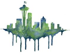 Seattle Skyline/ 12th Man/ Seattle Seahawks by BestDayEverStudio, $18.00