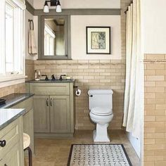 bathroom remodel in a Craftsman style aesthetic highlighting horizontal lines