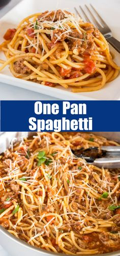 One Pot Spaghetti with Meat Sauce - classic spaghetti with meat sauce that comes together in just minutes all in one pan! Easy To Make Dinners, Easy Weeknight Meals, Quick Easy Meals, One Pot Spaghetti, Spaghetti Meat Sauce, Entree Recipes, Brunch Recipes, Savoury Recipes, Meal Recipes