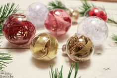 How to make these beautiful and simple One Minute DIY Ribbon Stuffed Christmas Ornaments at The Happy Housie-10