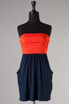 Game Time Dress: Orange/Navy