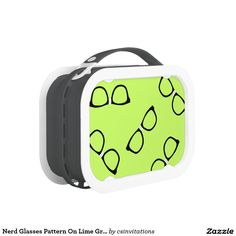 Nerd Glasses Pattern On Lime Green Lunch Boxes