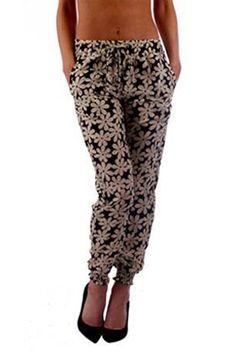 Black & White Floral Print Harem Pants