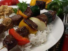 Beef & Vege Kebabs with hummus