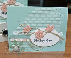 A little embossing paste makes a big difference on a simple card like this one. Added texture makes a great backdrop, and I like the rustic look I get when I don't completely fill in the bricks on the Card Making Inspiration, Making Ideas, Texture Paste, Stampin Up Catalog, Get Well Cards, Card Tutorials, Sympathy Cards, Stamping Up, Flower Cards