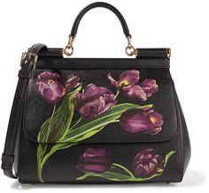 Dolce & Gabbana Sicily floral-print textured-leather shoulder bag