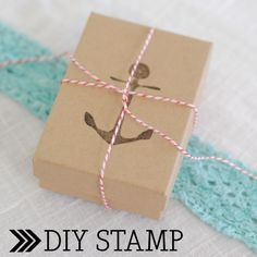 DIY stamp. Make an anchor stamp for your gift wrapping.