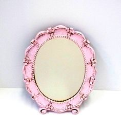 Pink Oval 1943 Syroco Mirror Upcycled Pink Shabby by donDiLights