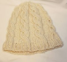 Women's Cable Knit Hat in Cream/OffWhiteWinter by Oceanlvrcrafts