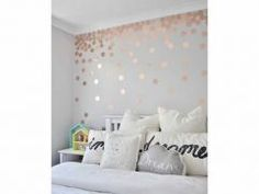 Artistic Rose Gold Bedroom Top Grey And Design Ideas Rose Gold Bedroom Wallpaper, Gold Teen Bedroom, Grey And Gold Wallpaper, Rose Gold And Grey Bedroom, Preteen Bedroom, Rose Gold Rooms, Gold Bedroom Decor, Accent Wall Bedroom, Gold Bedroom Accents