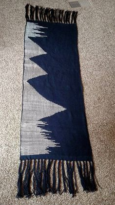 Blue Mountains Shawl - Clasped Weft So, I might have had a little too much fun with this. Navy Blue and White Merino wool from Stonehedge, hand woven on Rigid Heddle loom. Pattern is all free hand....