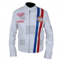 White Le Mans leather jacket. ULTRA LIGHT SHEEPSKIN LEATHER JACKET.