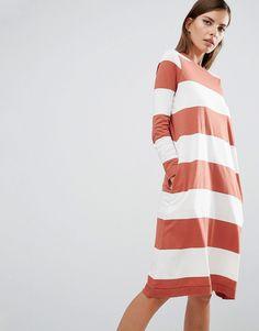 Selected Sisse Jersey Dress in Oversized Stripe