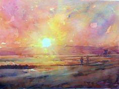 "Daily Paintworks - ""Sunset, Newport Beach California  2013"" - Original Fine Art for Sale - © Joseph  Mahon"