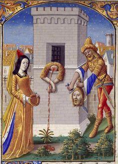 """""""Salomè riceve la testa del Battista"""", miniatura tratta dal 'Libro d'Ore di Carlo VIII' (Fiandre,1494), Biblioteca Nacionale de Espana, Madrid."""