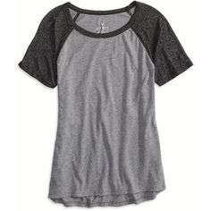 American Eagle Shimmer Baseball T-Shirt, Women's, Grey featuring polyvore fashion clothing tops t-shirts shirts grey gray top baseball top american eagle outfitters raglan sleeve top scoop neck top
