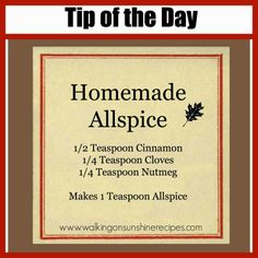 Walking on Sunshine Recipes:  Homemade Allspice