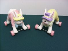 Rolling Wheels Easter Bunny Salt And Pepper Shakers