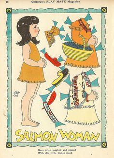 Vintage Paper Doll, Indian Girl