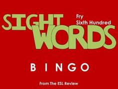 Play bingo with your students in style using these beautifully crafted bingo cards covering the sixth hundred of the Fry Instant Sight Words. This packet includes: - a set of 50 bingo cards for the first fifty words- a second set of 50 bingo cards for the remaining fifty words- caller cards for each set- bingo markersEnjoy!Dont forget to try:* Fry Sight Words Bingo - First Hundred* Fry Sight Words Bingo - Second Hundred* Fry Sight Words Bingo - Third Hundred* Fry Sight Words Bingo - Fourth…