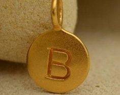 Natural Bronze Letter Charms A Z Round by carolinabeadshop