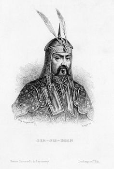 Genghis Khan Mongol conqueror Head and shoulders engraving