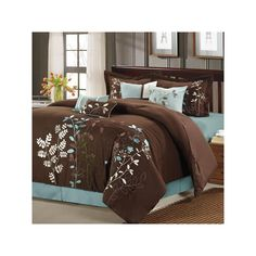 Chic Home Vines Comforter Bedding Set, Brown, Queen: This decorative comforter set features exquisitely embroidered floral vines set against a brown background. This brown comforter set is contrasted with a Sage bed skirt and throw pillows.