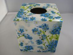 Forget me not Blue Tissue Box Cover wooden handmade in UK by crackpotscrafts on Etsy