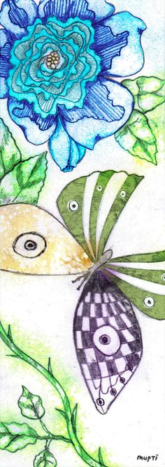 butterfly and flower #bookmark